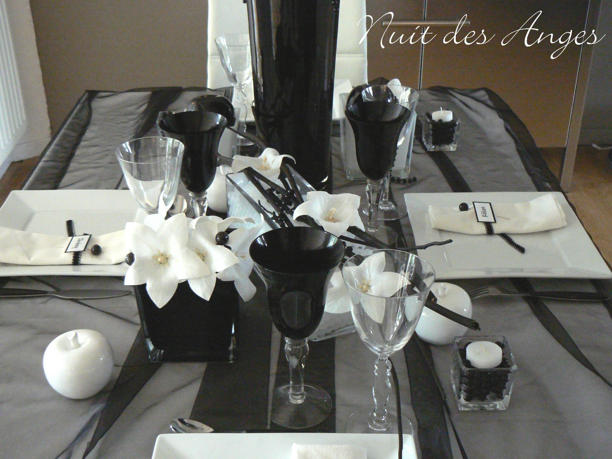 nuit des anges d coratrice de mariage d coration de table noir et blanc 002 photo de. Black Bedroom Furniture Sets. Home Design Ideas