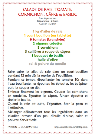 Salade de raie, tomate, cpre, cornichon, basilic_fiche