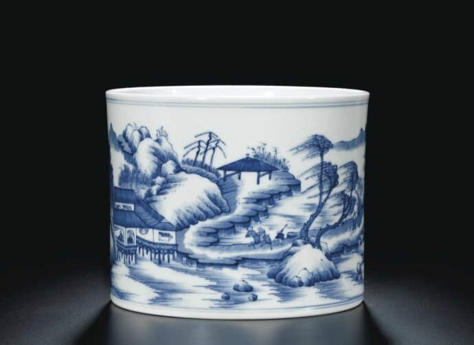 A blue and white 'Landscape' brushpot, Qing dynasty, Kangxi period (1662-1722)