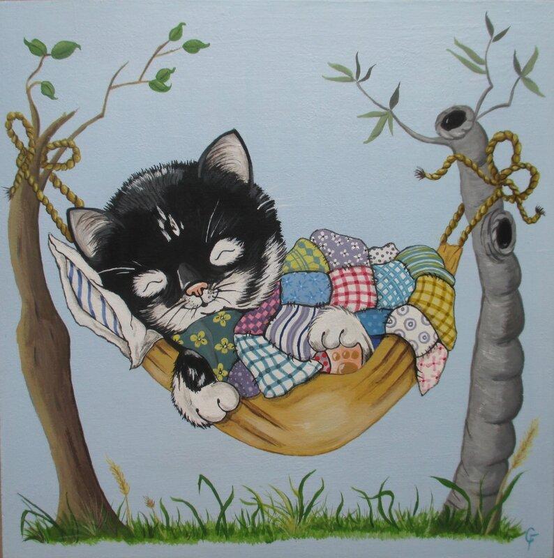 Chaton dans hamac (tableau bois)- CélinArtisa