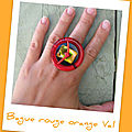 Bague rouge orange Val (B92)