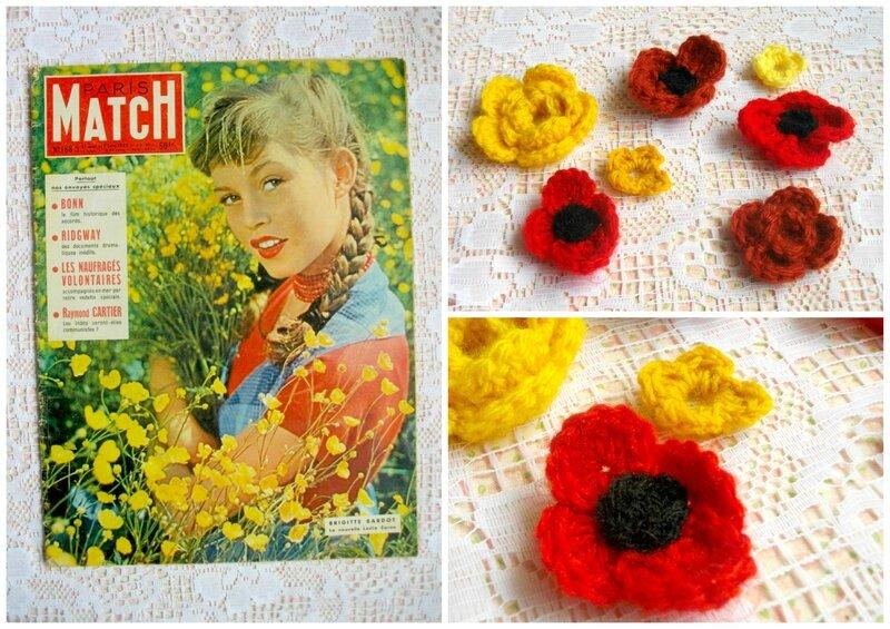 paris-match-brigitte-bardot-années-60-numéro-168-fleur-crochet-vintage-coquelicot-diy-tuto