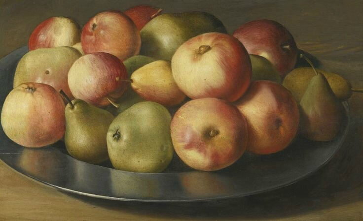 Dutch School, 17th century, Still life of apples and pears in a pewter dish
