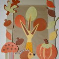 Collages d'automne ,hérissons,champignons,feuilles etc....