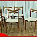 Chaises vintage scandinave teck dore 1950/1960 vendu