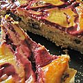 Cheese-cake au brownie, marbré cassis-groseille