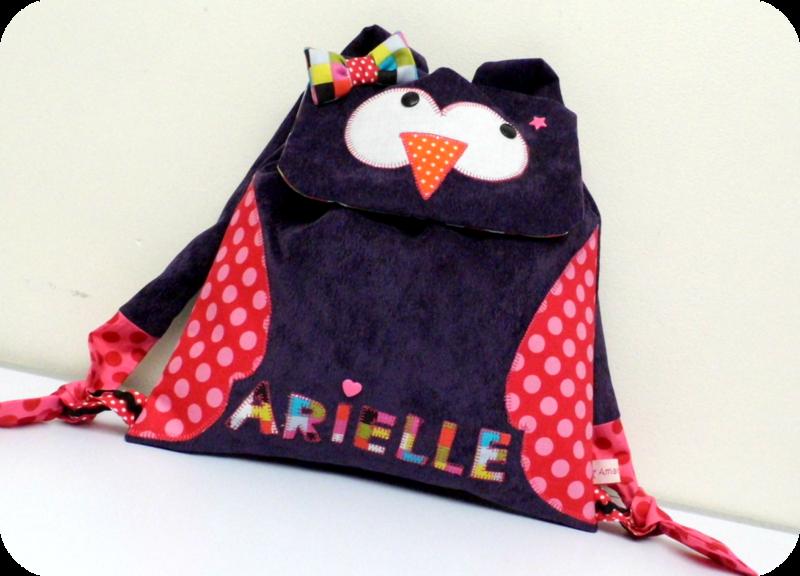 sac à dos enfant hibou velours Arielle