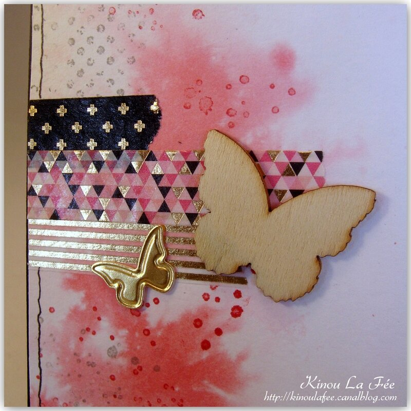 Carte Masking Tape et Papillon rose 3