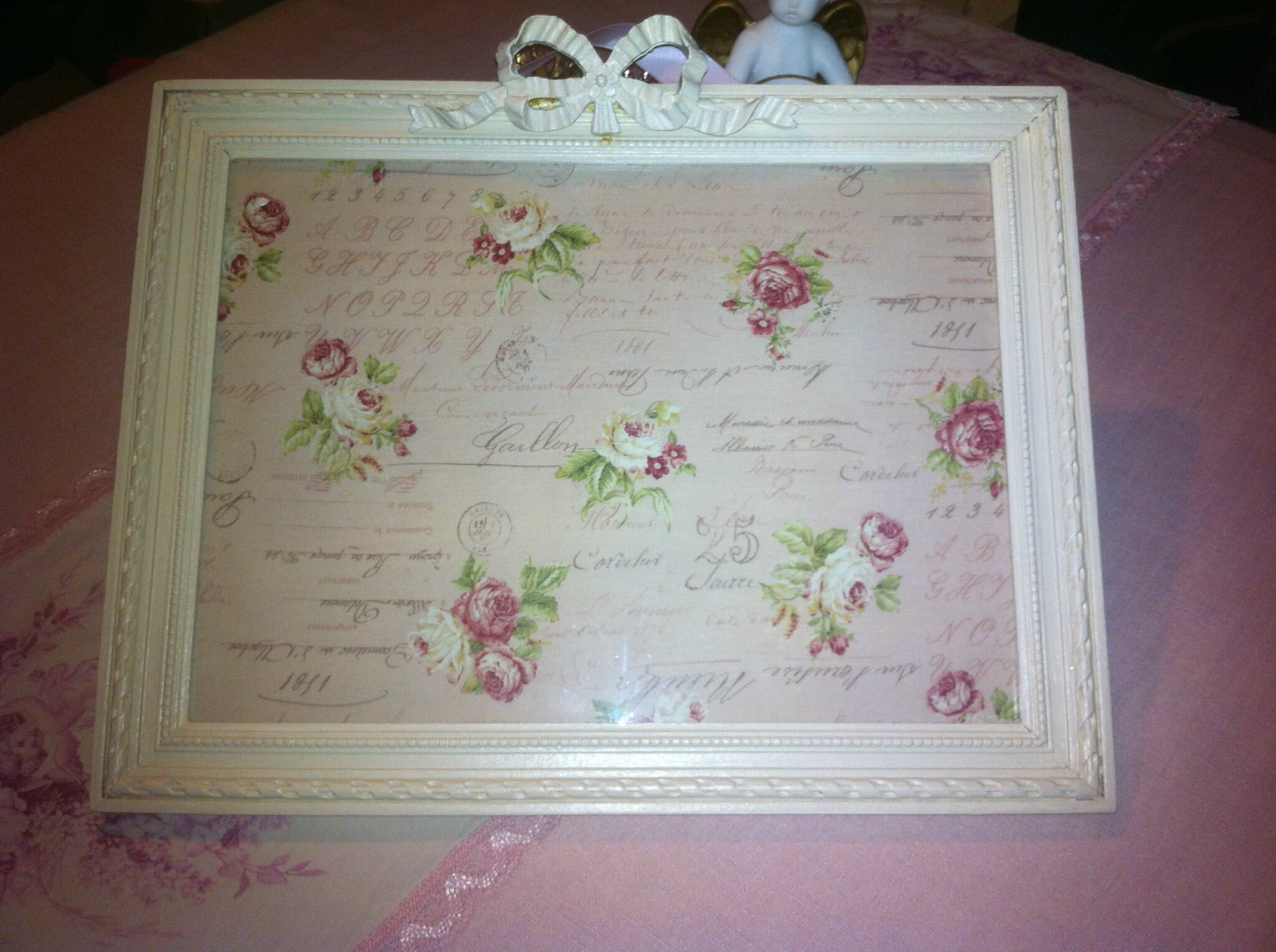 Cadre fronton noud for Objet deco shabby