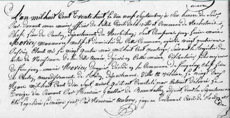 1838 mariage à Malestroit de Marie Julie Kerfelec_1