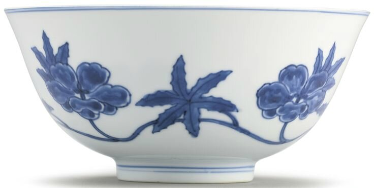 A rare blue and white Ming-style 'Palace' bowl, Qing dynasty, Kangxi period