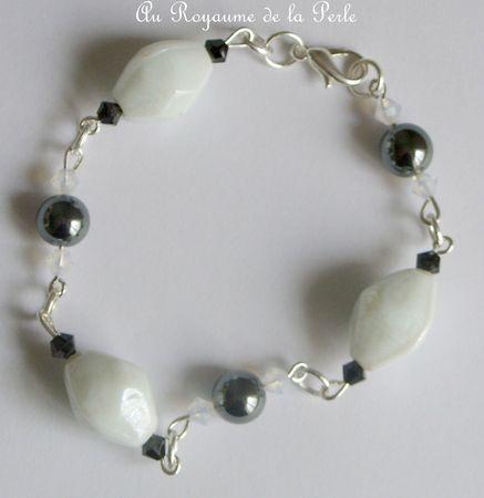 Bracelet hématite noir et blanc détail 2
