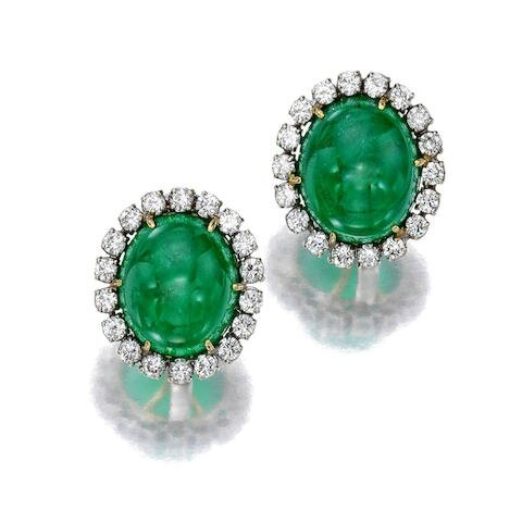 A pair of cabochon emerald and diamond ear clips, Andreoli