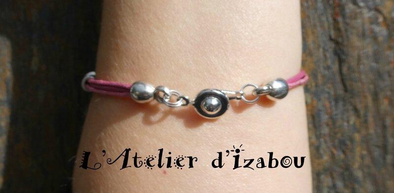 P1000380 Bracelet fin fermoir pression, cuir et coton ciré rose