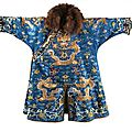 A 19th century chinese silk winter dragon robe