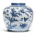 A blue and white 'three friends of winter' jar, ming dynasty, circa 1600