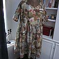 Robe RAYMONDE en coton imprimé ''l'atelier couture'' - manche raglan - longueur genoux - taille unique (2)