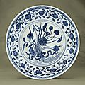 A fine and rare Early Ming blue and white 'Lotus Bouquet' dish, Ming dynasty, Yongle period (1403-1425)