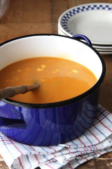 recette soupe de pomme de terre au mais 0001 LE MIAM MIAM BLOG