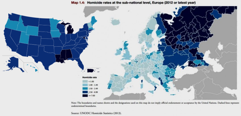 Homicide rates in Europe and the US