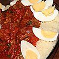 Couscous au boeuf, tomates et oeufs durs