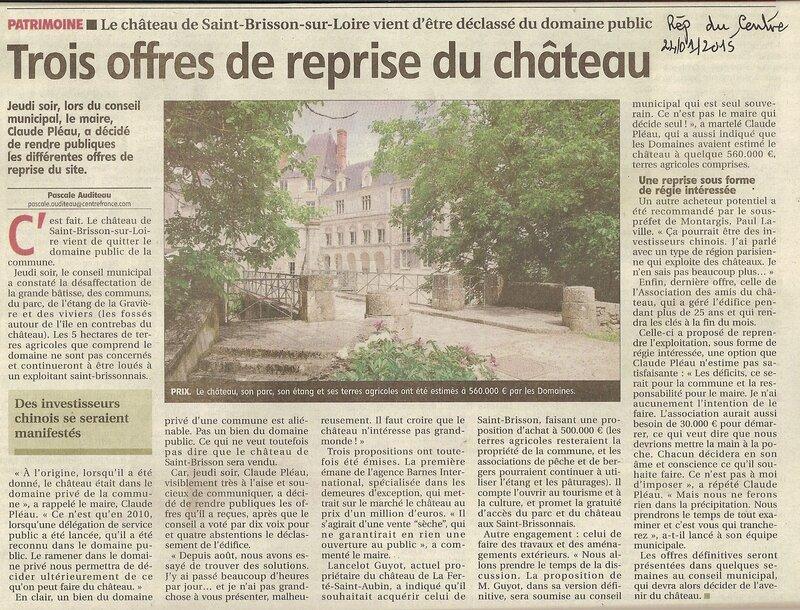 Article de la République du Centre du 24 janvier 2015 au sujet du conseil municipal de Saint-Brisson-sur-Loire du 22 janvier 2015