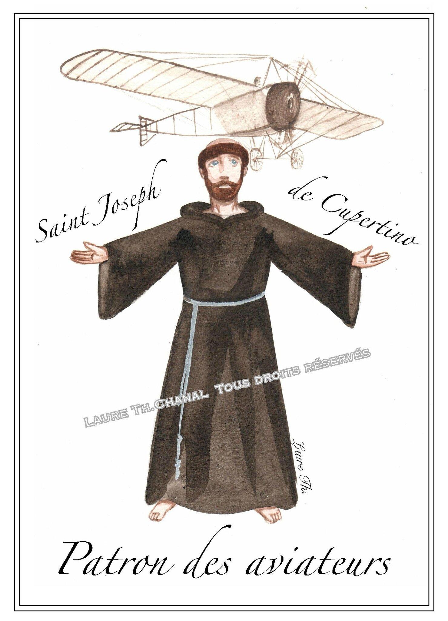 aquarelle de saint joseph de cupertino moine franciscain patron des aviateurs dessine moi. Black Bedroom Furniture Sets. Home Design Ideas