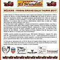 Béziers - cartel du viiième grand gala taurin 2017