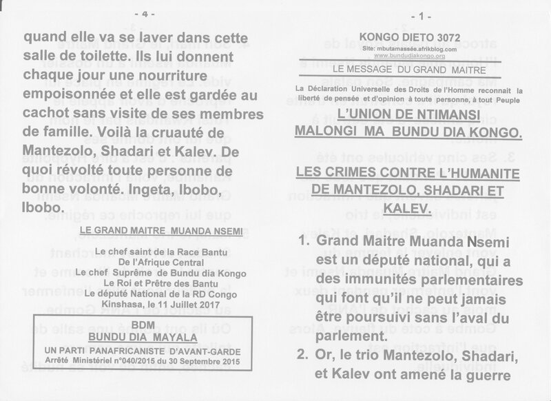 LES CRIMES CONTRE L'HUMANITE DE MANTEZOLO SHADARI ET KALEV a