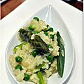 Risotto verde petits pois, asperges vertes et pois gourmands