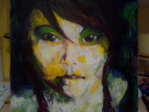 Lucie cornet guillon 39 visage d 39 enfant 39 peinture au couteau sur une base acrylique joli - Peinture sur visage ...