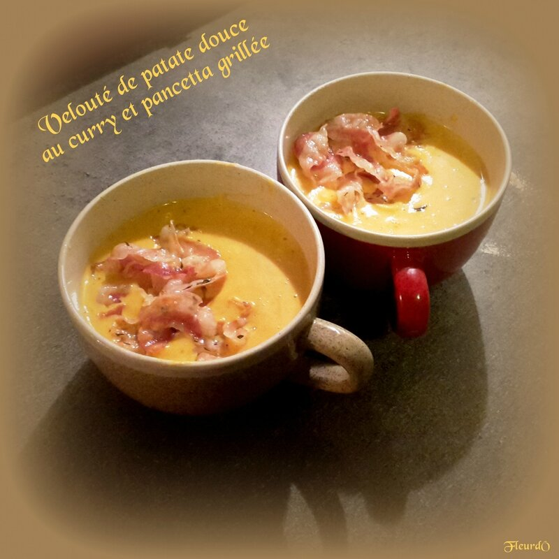 velouté patate douce, curry, pancetta - Fleurdô