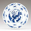 A chinese porcelain plate, ming dynasty, wanli period (1573-1620)