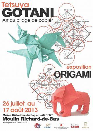 s-affiche exposition Origami Tetsuya GOTANI au musée historique de papier à Ambert 2013