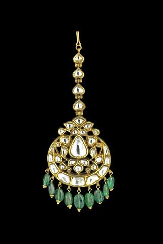 An Indian diamond-set enamelled Head Ornament (Maang Tikka)