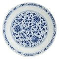 A blue and white saucer dish, Qianlong seal mark. Photo Bonhams.