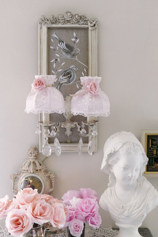Abat jour dome shabby chic perle de lumi res cr ation for Lampadaire shabby