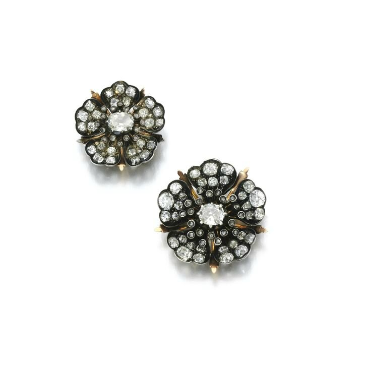 Two diamond and paste brooches, late 19th century