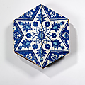 Carreau au mdaillon toil bichrome, Iznik, vers 1530-1540