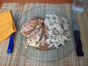 Courgettes farcies et risotto aux champignons