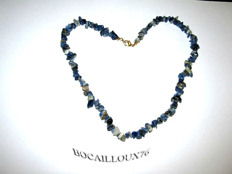 COLLIER SODALITE 11 - ATTACHE MOUSQUETON DORE