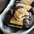 Bâtons aux amandes, chocolat et cassis