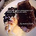 Entrecôte sauce armagnac-café, salade de haricots noirs