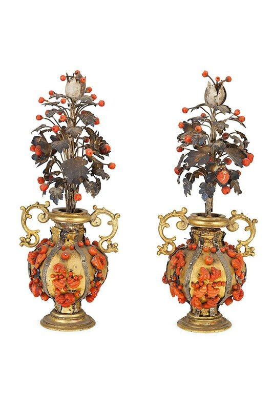A pair of copper, coral and silver vases, Trapani, 17th century