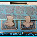 Mini-album cartable - turquoise et marron