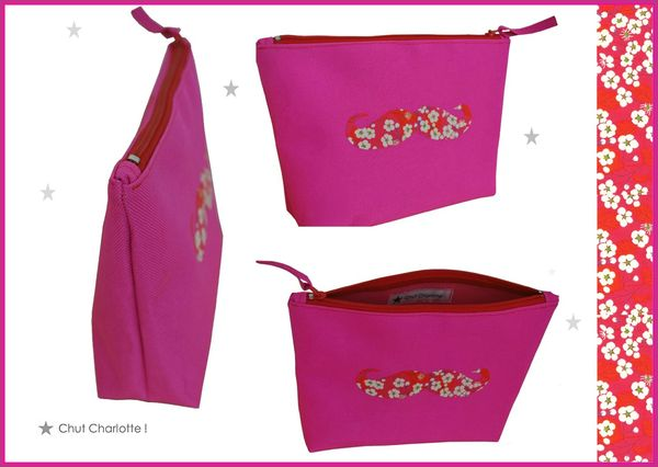 Trousse Moustache rose Liberty Mitsi (4ter)