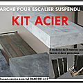 Escalier suspendu,escalier flottant, quart tournant escalier, suspendu en kit, kit marches suspendues, marche caisson, escalie