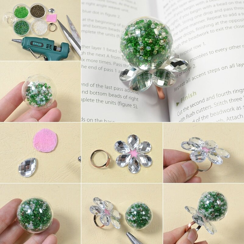 Easy-Pandahall-Tutorial---How-to-Make-an-Easy-Green-Glass-Globe-Bead-Ring
