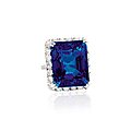 A 50.51 carats octagonal step-cut ceylon sapphire and diamond ring, by harry winston