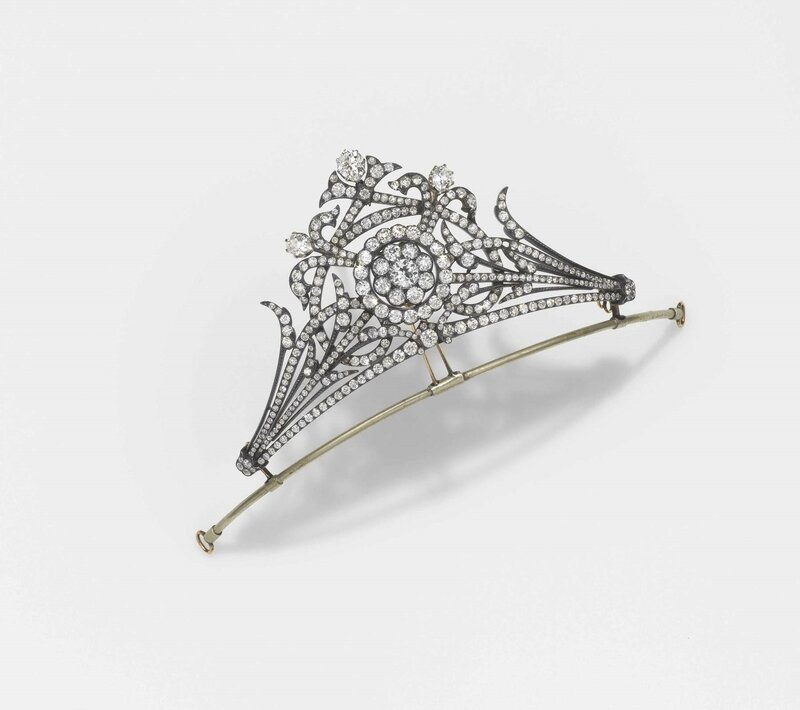 A 19th century, silver, gold and old-cut diamond tiara